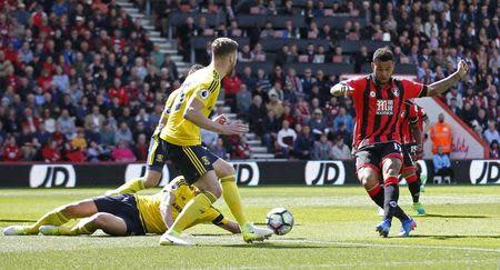 Britain Soccer Football - AFC Bournemouth v Middlesbrough - Premier League - Vitality Stadium - 22/4/17 Bournemouth's Joshua King scores their first goal Action Images via Reuters / Matthew Childs