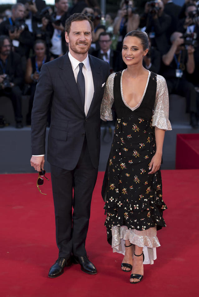 """<p>Life imitated art for the former co-stars as the actors wed in a <a href=""""https://www.yahoo.com/entertainment/michael-fassbender-alicia-vikander-got-154556652.html"""" data-ylk=""""slk:super intimate ceremony;outcm:mb_qualified_link;_E:mb_qualified_link"""" class=""""link rapid-noclick-resp"""">super intimate ceremony</a> in Ibiza, Spain, over the summer. The pair met in 2014 on the set of their film <em>The Light Between Oceans</em>. (Photo: Andreas Rentz/Getty Images) </p>"""