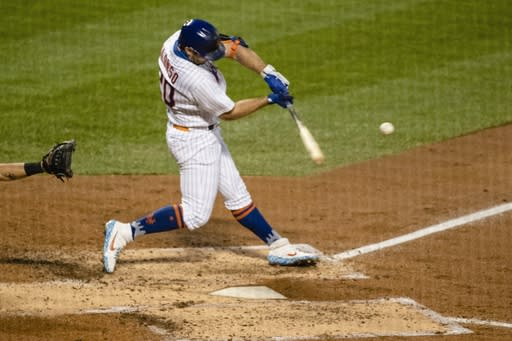New York Mets' Pete Alonso hits a two-run home run during the third inning of a baseball game against the Miami Marlins Saturday, Aug. 8, 2020, in New York. (AP Photo/Frank Franklin II)