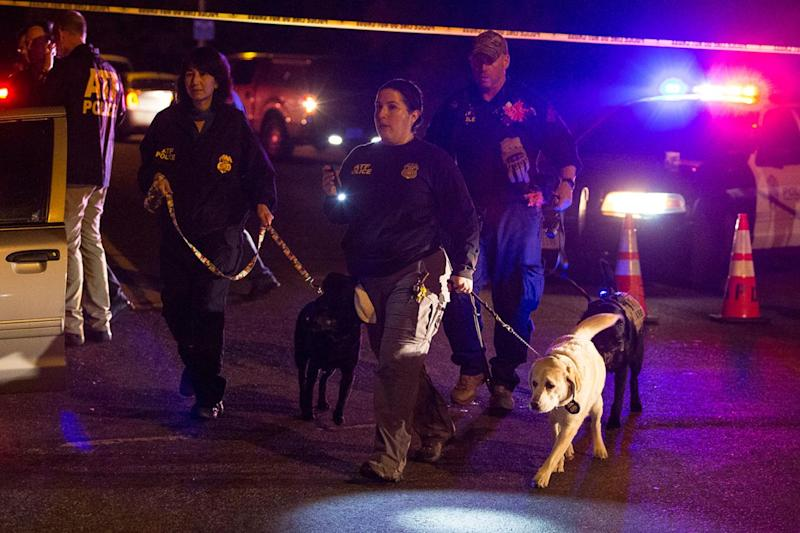 Texas: Police at the scene of an earlier explosion on Sunday (AP)