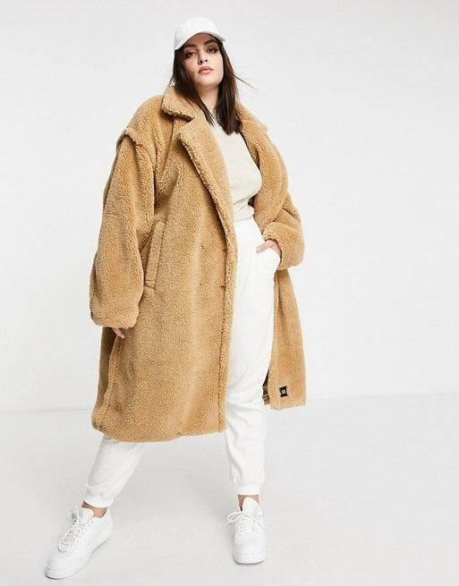 """<br><br><strong>Sixth June Plus</strong> Oversized Teddy Borg Coat, $, available at <a href=""""https://www.asos.com/sixth-june-plus/sixth-june-plus-oversized-overcoat-in-teddy-borg/prd/20062749?"""" rel=""""nofollow noopener"""" target=""""_blank"""" data-ylk=""""slk:ASOS"""" class=""""link rapid-noclick-resp"""">ASOS</a>"""