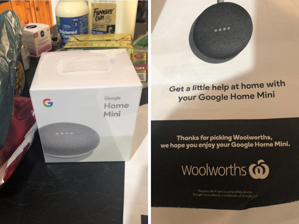 "Some Australians have been ""pleasantly surprised"" to find a surprise gift in their Woolies shopping order. (Photo: Facebook/Stephanie Howlett Sarkany)"