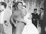 <p>Brigitte Bardot and her costar, French actor Jacques Charrier, got married in a French courthouse in 1959. The low-key wedding was Brigitte's second marriage and Jacques's first and only. </p>