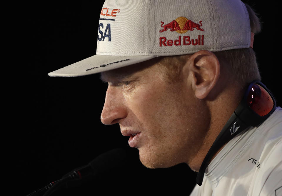 FILE - In this Monday, June 26, 2017, file photo, Oracle Team USA skipper Jimmy Spithill answers questions during a news conference following his team's America's Cup loss to Emirates Team New Zealand in sailing competition in Hamilton, Bermuda. Spithill has signed on as CEO and helmsman of the United States team in SailGP, giving the global league another former America's Cup champion in its stable of stars. (AP Photo/Gregory Bull, File )
