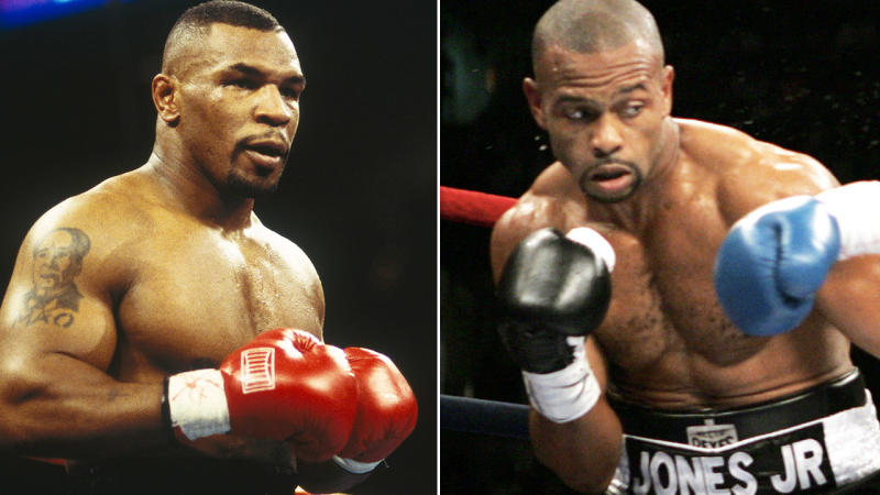 Mike Tyson and Roy Jones Jr, pictured here during their boxing careers.