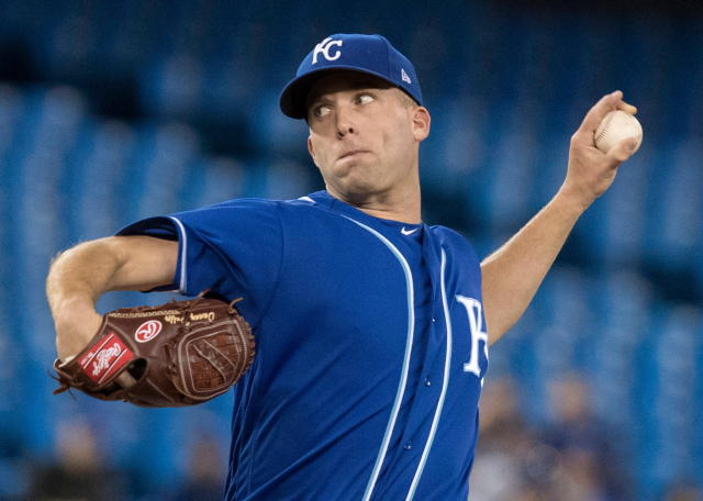 Kansas City Royals starting pitcher Danny Duffy throws in the second game of their baseball double header against the Toronto Blue Jays, in Toronto on Tuesday, April 17, 2018. (Fred Thornhill/The Canadian Press via AP)