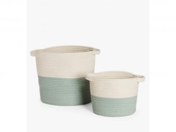 Until you can make your own, we love these two-toned baskets to keep your knitting equipment neatly stowed away (John Lewis & Partners)
