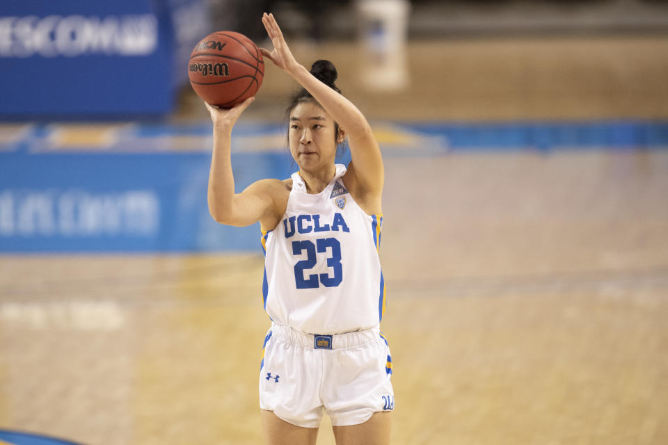 UCLA Bruins guard Natalie Chou (23) during an NCAA basketball game against the Arizona State Sun Devils on Friday, Jan. 29, 2021 in Los Angeles. (Photo by Kyusung Gong/Icon Sportswire via Getty Images)