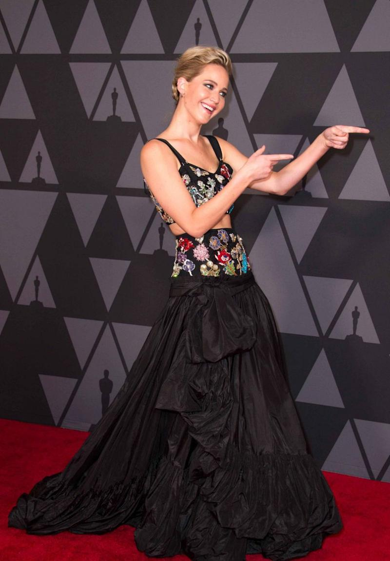 J.Law (pictured here earlier this year) has revealed who her dream dinner date is with. Source: Getty