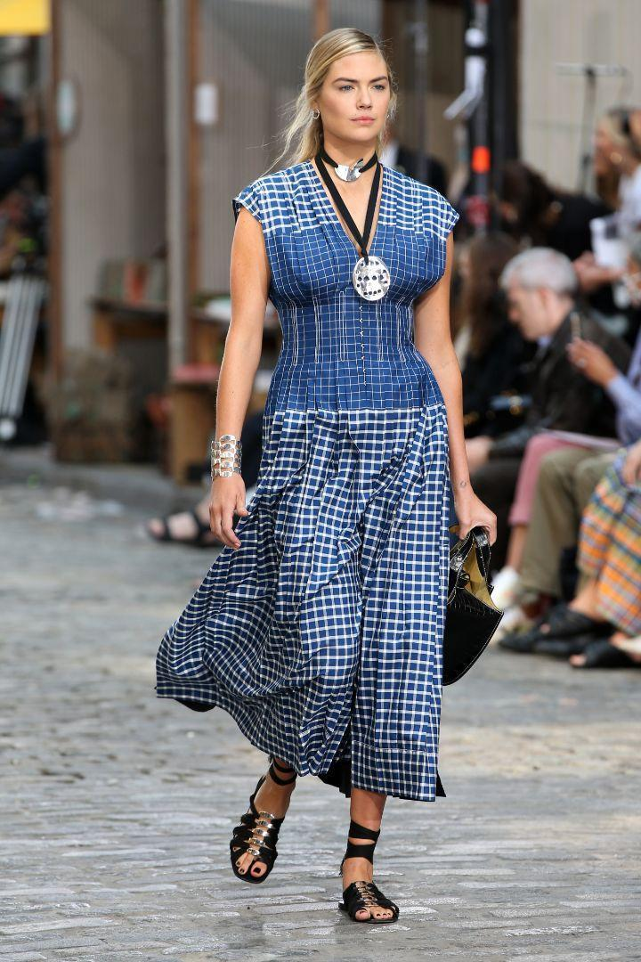 Kate Upton walks the runway for the Tory Burch Spring / Summer 22 show during New York Fashion Week on September 12.  - Credit: Christopher Peterson / Splash News