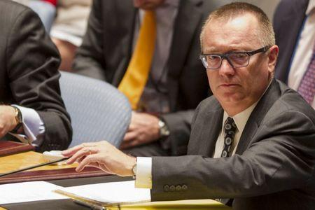U.N. political affairs chief Feltman prepares to read a letter from the permanent representative of Ukraine to the U.N. Security Council at U.N. Headquarters in New York
