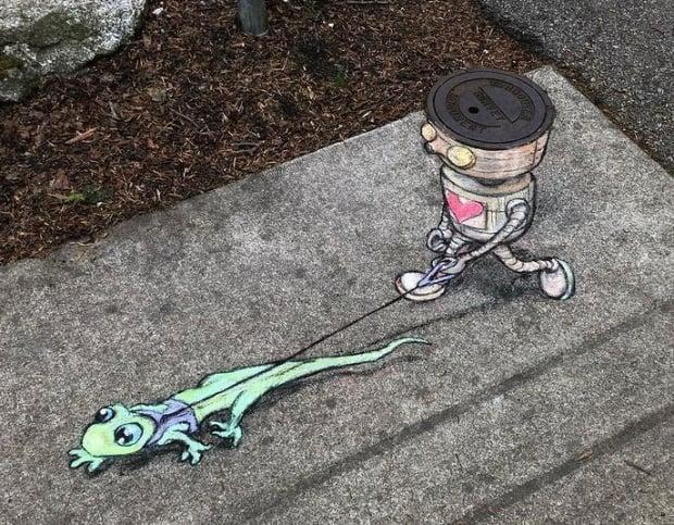 One of Cartegena's character's takes a stroll on a West End street with a pet lizard.