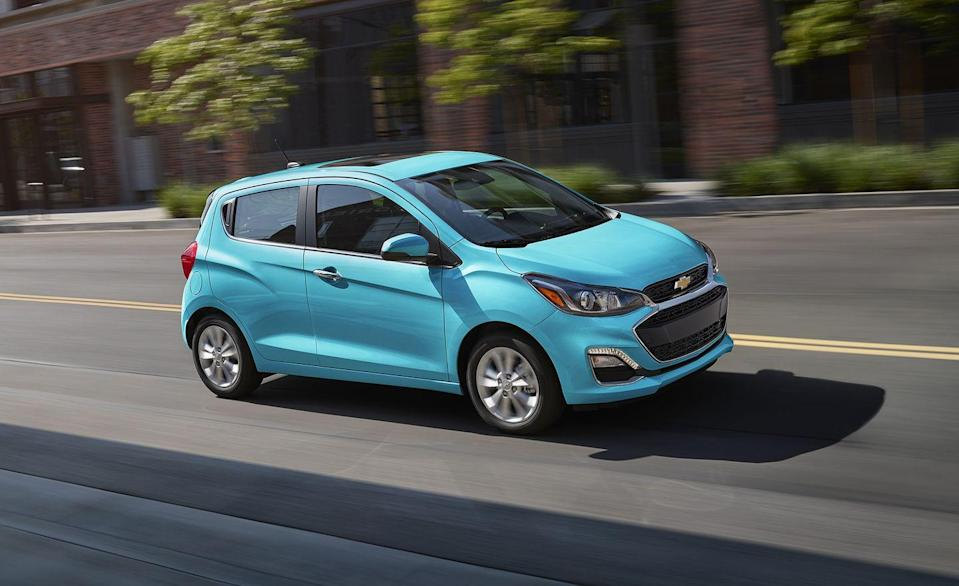 """<p>With a base price just over $14,000, Chevy's pint-size hatchback is the <a href=""""https://www.caranddriver.com/features/g34908888/10-cheapest-new-cars-for-2021/"""" rel=""""nofollow noopener"""" target=""""_blank"""" data-ylk=""""slk:cheapest new car available in the U.S."""" class=""""link rapid-noclick-resp"""">cheapest new car available in the U.S.</a> in 2021. The <a href=""""https://www.caranddriver.com/chevrolet/spark"""" rel=""""nofollow noopener"""" target=""""_blank"""" data-ylk=""""slk:Spark"""" class=""""link rapid-noclick-resp"""">Spark</a> is the GM's smallest car and it still comes standard with a five-speed manual. In fact, all four of its trim levels can with bought with the stick or a continuously variable automatic transmission (CVT), which costs an extra $400. </p>"""