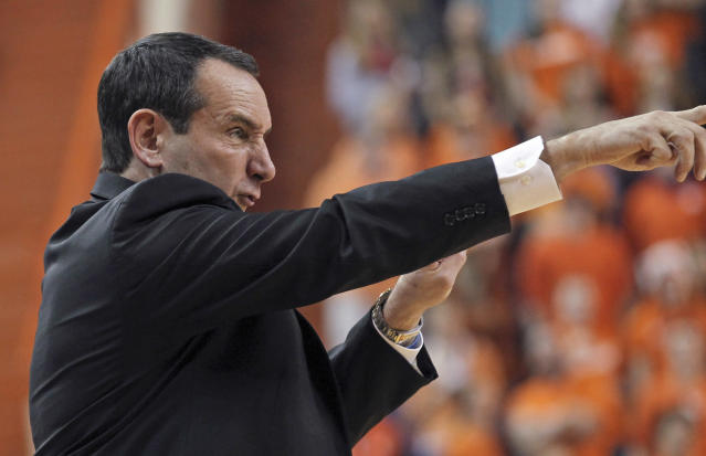 Duke coach Mike Krzyzewski gestures during an NCAA college basketball game against Clemson on Saturday, Jan. 11, 2014, in Clemson, S.C. (AP Photo/Anderson Independent-Mail, Mark Crammer)