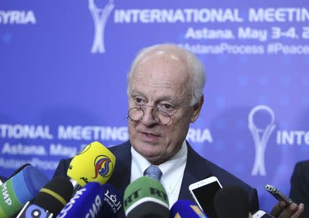 U.N. Special Envoy for Syria Staffan de Mistura speaks to the media during the fourth round of Syria peace talks in Astana, Kazakhstan, May 4, 2017. REUTERS/Mukhtar Kholdorbekov