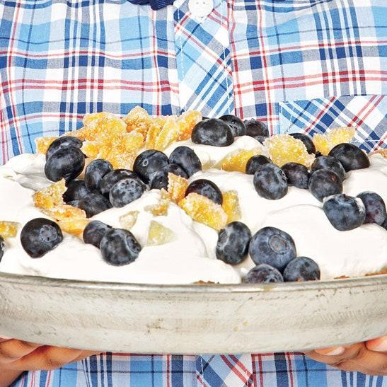 """This colorful, cooling recipe takes a whole bunch of store-bought ingredients—peach ice cream, fresh blueberries, gingersnap cookies, crystallized ginger—and makes magic with them. The only other requirement, really, is time: This needs about six hours to firm up in the freezer. <a href=""""https://www.epicurious.com/recipes/food/views/peach-blueberry-ice-cream-pie-395920?mbid=synd_yahoo_rss"""" rel=""""nofollow noopener"""" target=""""_blank"""" data-ylk=""""slk:See recipe."""" class=""""link rapid-noclick-resp"""">See recipe.</a>"""