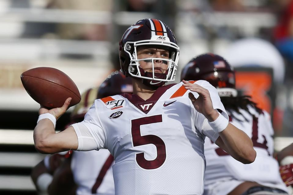 Virginia Tech quarterback Ryan Willis passes during the first half of an NCAA college football game against Boston College in Boston, Saturday, Aug. 31, 2019. (AP Photo/Michael Dwyer)