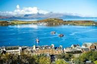 """<p>Oban means 'little bay' in Gaelic, and the harbour looks out towards the wild and rugged Inner Hebrides islands. Panoramic views of magical landscapes, including the ruins of Dunollie Castle, make for amazing pictures, which is probably why Queen Victoria declared Oban """"one of the finest spots we have seen"""" after visiting.</p><p>The town is also famous for its amazing seafood and great range of outdoor activities - if you're feeling adventurous, then head out for a bit of sea kayaking, sailing or a wildlife-spotting boat trip.</p>"""