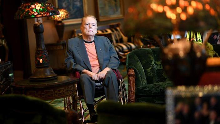 BEVERLY HILLS. CALIFONRIA MARCH 14, 2017-Publisher Larry Flynt sits in his office in Beverly Hills. Flynt will be remodeling his casino in Gardena. (Wally Skalij/Los Angeles Times)