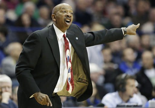 DePaul head coach Oliver Purnell yells his team during the first half of an NCAA college basketball game against Notre Dame in Rosemont, Ill., on Saturday, Feb. 2, 2013. (AP Photo/Nam Y. Huh)