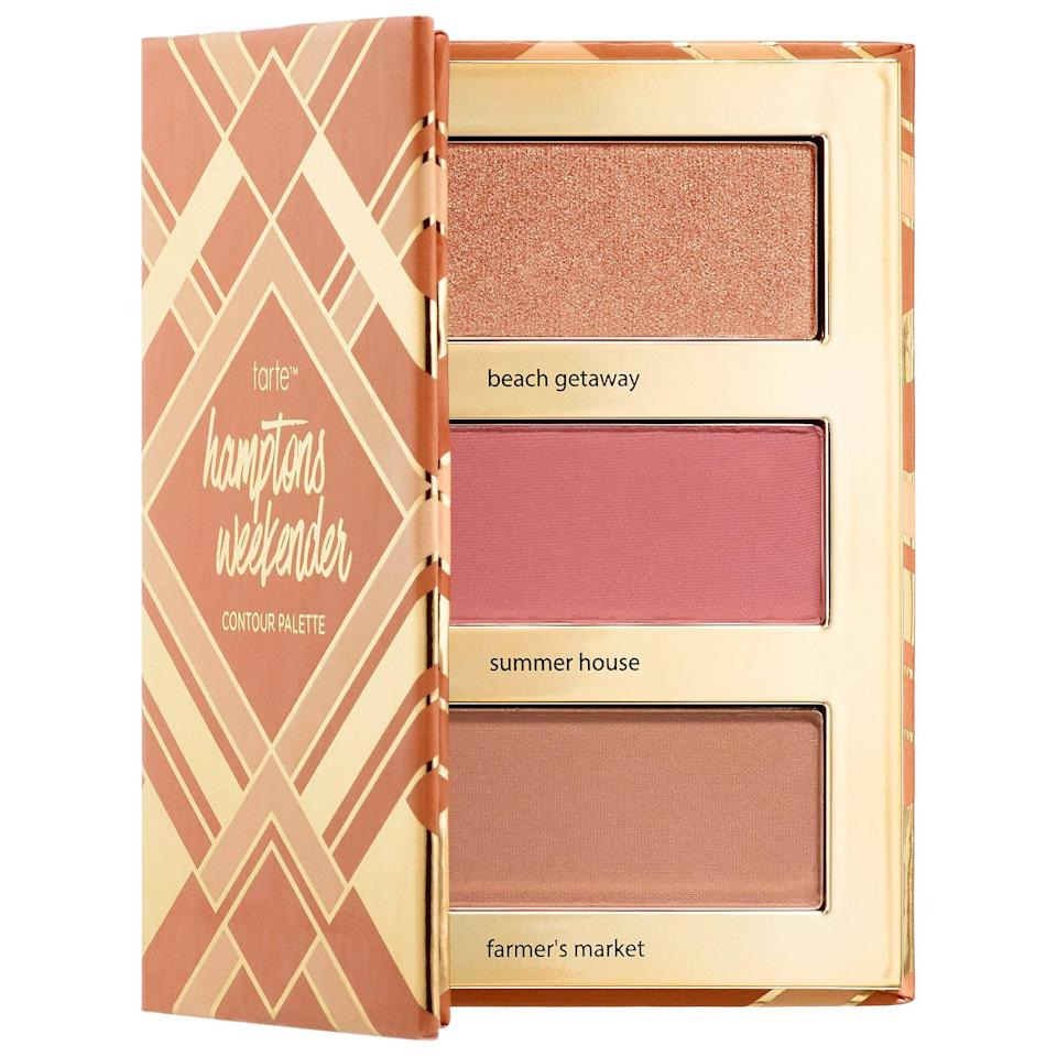 <p>Not only are the colors in this bestselling <span>Tarte Hamptons Weekender Contour Palette</span> ($19) vacation-inspired, but an Amazonian clay formula also ensures they last streak-free even if your day includes an <em>actual</em> trip to the beach.</p>
