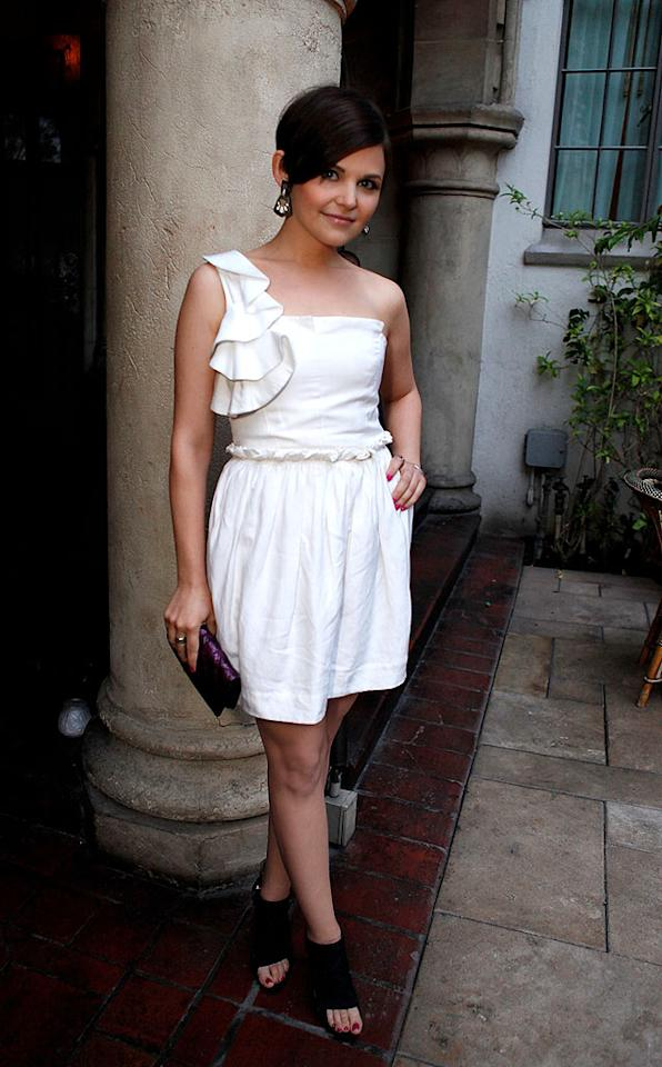 """""""Big Love"""" looker Ginnifer Goodwin kept it relatively casual at a recent charity dinner by sporting a super cute white one-shouldered mini, black open-toed Mechante of London ankle boots, and a rare (and much appreciated!) smile. Jeff Vespa/<a href=""""http://www.wireimage.com"""" target=""""new"""">WireImage.com</a> - June 11, 2009"""