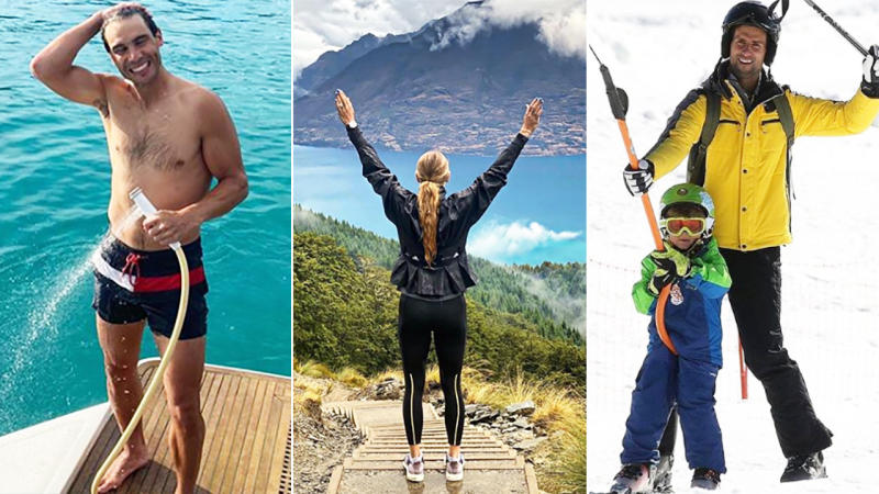 Rafael Nadal, Caroline Wozniacki and Novak Djokovic, pictured here on holidays after the Australian Open.