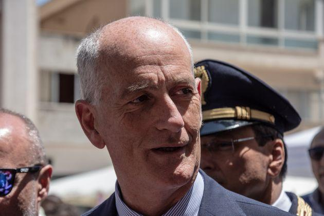 On July 19, 2019, in Palermo, commemorations were held for the Via D'Amelio massacre, in which the judge Paolo Borsellino and his escort lost their lives. In picture: The Italian police chief Franco Gabrielli during his visit in via D'Amelio, place of the attack on the mafia. (Photo by Francesco Militello Mirto/NurPhoto via Getty Images) (Photo: NurPhoto via Getty Images)