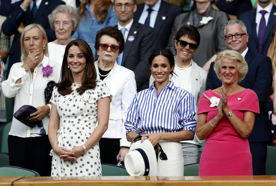 Kate and Meghan at Wimbledon earlier this year (PA)