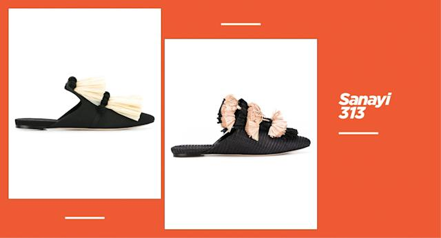 """<p><strong>Origin:</strong> Istanbul<br><strong>Style:</strong> Sanayi 313 reimagines how a pair of slippers can look and feel. Inspired by the Ottoman weaving technique in Istanbul, the shoes are intricately decorated with details like fringe, pom-poms, and embroideries — of cherries, spiders, and bee motifs. You can easily pair one these statement shoes with a pair of jeans, maxi dress, or jumpsuit.<br><strong>Price: </strong>starting at $860<br><strong>Shop: </strong>Available at <a href=""""https://www.net-a-porter.com/us/en/Shop/Designers/Sanayi313?pn=1&npp=60&image_view=product&dScroll=0&pScroll=1151"""" rel=""""nofollow noopener"""" target=""""_blank"""" data-ylk=""""slk:net-a-porter.com"""" class=""""link rapid-noclick-resp"""">net-a-porter.com</a><br>(Photo: Sanayi 313) </p>"""
