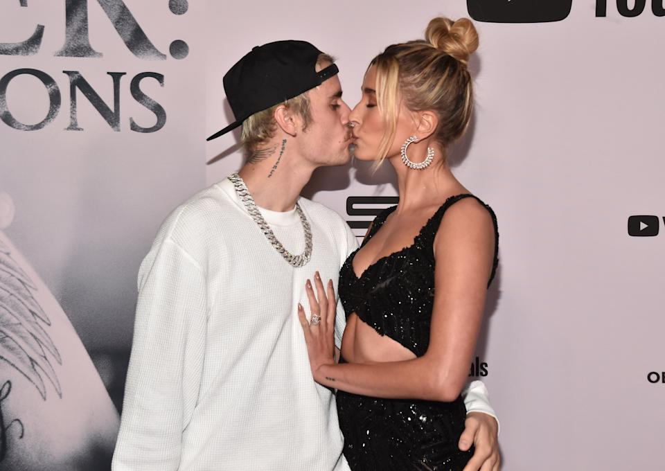 """LOS ANGELES, CALIFORNIA - JANUARY 27: Justin Bieber and Hailey Bieber attend the premiere of YouTube Original's """"Justin Bieber: Seasons"""" at the Regency Bruin Theatre on January 27, 2020 in Los Angeles, California. (Photo by Alberto E. Rodriguez/Getty Images)"""