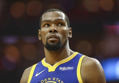 FILE PHOTO: May 4, 2019; Houston, TX, USA; Golden State Warriors forward Kevin Durant (35) looks on during the fourth quarter against the Houston Rockets in game three of the second round of the 2019 NBA Playoffs at Toyota Center. Mandatory Credit: Troy Taormina-USA TODAY Sports