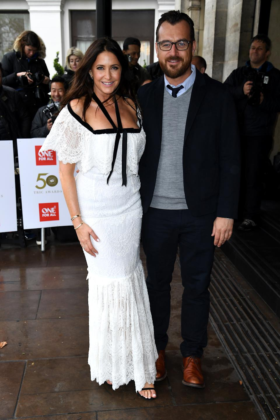 Lisa Snowdon and George Smart attending the TRIC Awards 50th Birthday held at The Grosvenor House Hotel, London. Picture Credit Should Read: Doug Peters/EMPICS