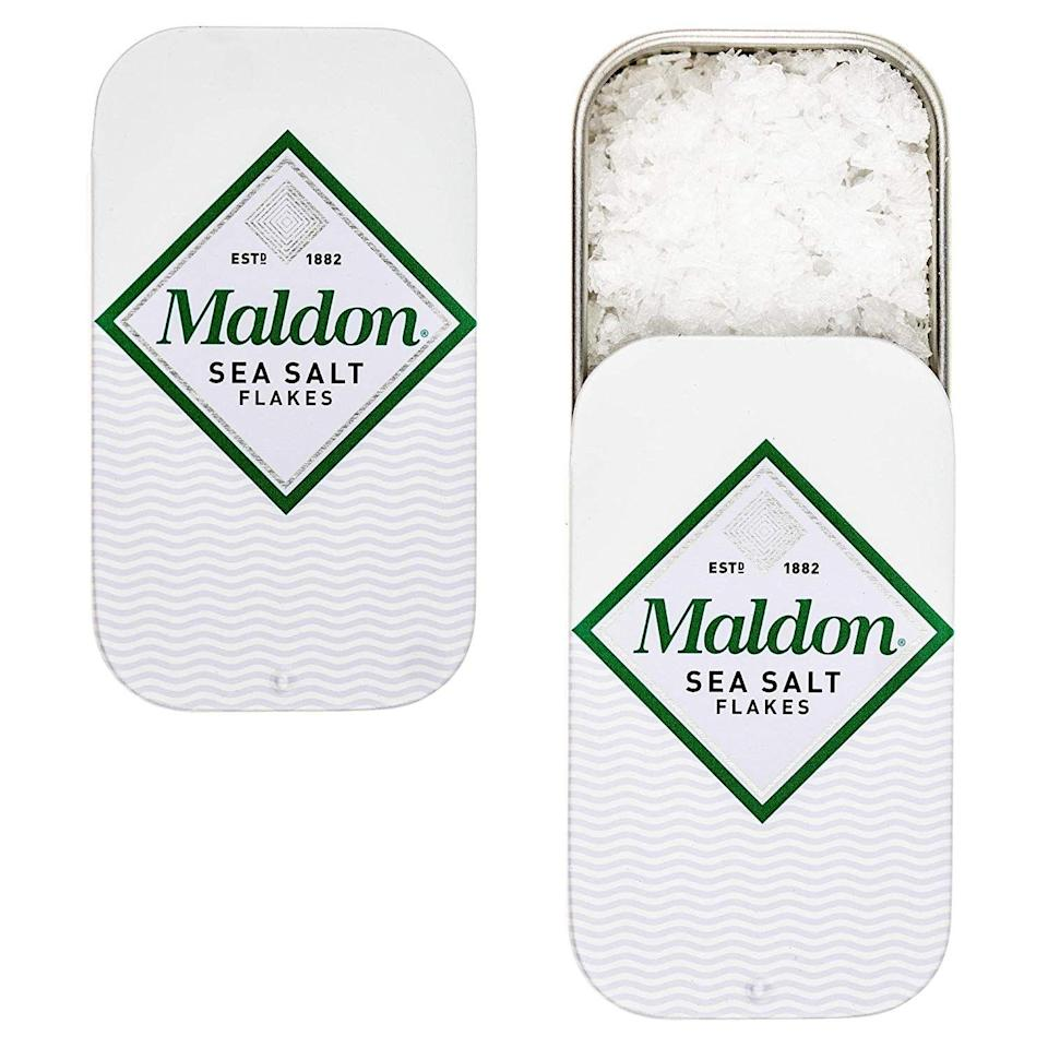 "<p>A pocket sized harvested sea salt pack will make any gourmet friend grin. Buy a pack of three and hand them out to friends in need of a quick trip to Flavortown.</p><br><br><strong>Maldon</strong> Sea Salt Flakes Pinch Tin (3 Pack), $9.99, available at <a href=""https://www.amazon.com/Maldon-Sea-Salt-Flakes-Pinch/dp/B00ULROLA2/ref=sr_1_2_a_it?"" rel=""nofollow noopener"" target=""_blank"" data-ylk=""slk:Amazon"" class=""link rapid-noclick-resp"">Amazon</a>"