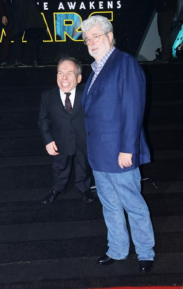<p>Davis, a returning <i>Star Wars </i>cast member who is credited in the new film, poses with the film series' creator on Dec. 16.<br /></p>