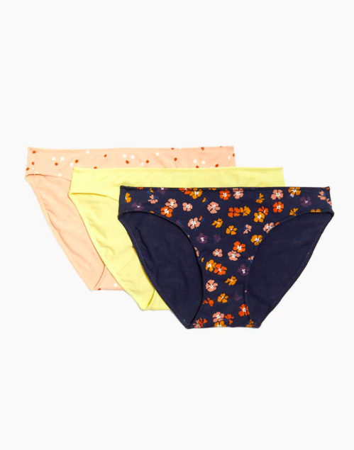 """<h3><a href=""""https://www.madewell.com/3-pack-cotton-modalreg%3B-bikini-undies-set-AL535.html?dwvar_AL535_color=PP0005&cgid=apparel-intimates-undies"""" rel=""""nofollow noopener"""" target=""""_blank"""" data-ylk=""""slk:Madewell Cotton-Modal® Bikini Undies Set"""" class=""""link rapid-noclick-resp"""">Madewell Cotton-Modal® Bikini Undies Set</a></h3><br><br><strong>The Most Washing Machine Friendly<br></strong><br>More than one reviewer has remarked on the fact that these undies fare well in the wash without losing shape. Extra points for the comfy fit and fun prints. <br><br><strong>The Hype:</strong> 4.3 out of 5 stars; 6 reviews on <a href=""""https://www.madewell.com/3-pack-cotton-modalreg%3B-bikini-undies-set-AL535.html?dwvar_AL535_color=PP0005&cgid=apparel-intimates-undies"""" rel=""""nofollow noopener"""" target=""""_blank"""" data-ylk=""""slk:Madewell.com"""" class=""""link rapid-noclick-resp"""">Madewell.com</a><br><br><strong>What They Are Saying:</strong> """"I have bought these multiple times over there years, they never disappoint. Fit well, comfortable, maintain shape after washing and drying. My favorite go to underwear!"""" — Anbelle, Madewell.com reviewer<br><br><strong>Madewell</strong> 3-Pack Cotton-Modal® Bikini Undies Set, $, available at <a href=""""https://go.skimresources.com/?id=30283X879131&url=https%3A%2F%2Fwww.madewell.com%2F3-pack-cotton-modalreg%253B-bikini-undies-set-AL535.html%3Fdwvar_AL535_color%3DPP0005%26cgid%3Dapparel-intimates-undies"""" rel=""""nofollow noopener"""" target=""""_blank"""" data-ylk=""""slk:Madewell"""" class=""""link rapid-noclick-resp"""">Madewell</a>"""