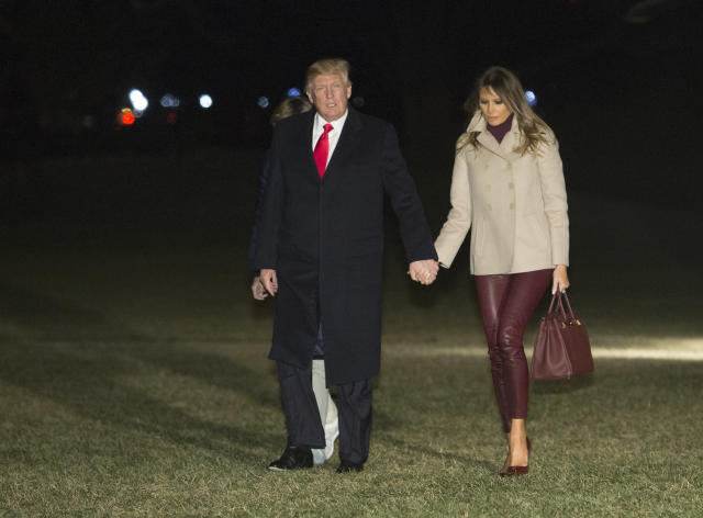 Melania Trump returns to the White House with Donald Trump and their son, Barron, after their stay at Mar-a-Lago in Palm Beach, Fla.. (Photo: Getty Images)