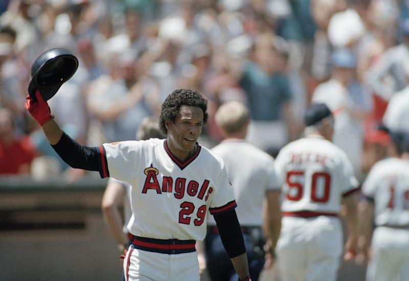 Rod Carew acknowledges the fans after his 3,000th career hit.