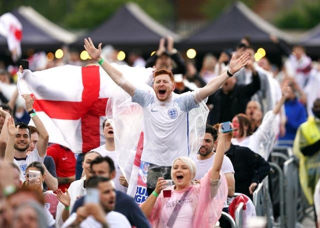 England fans celebrate in Manchester