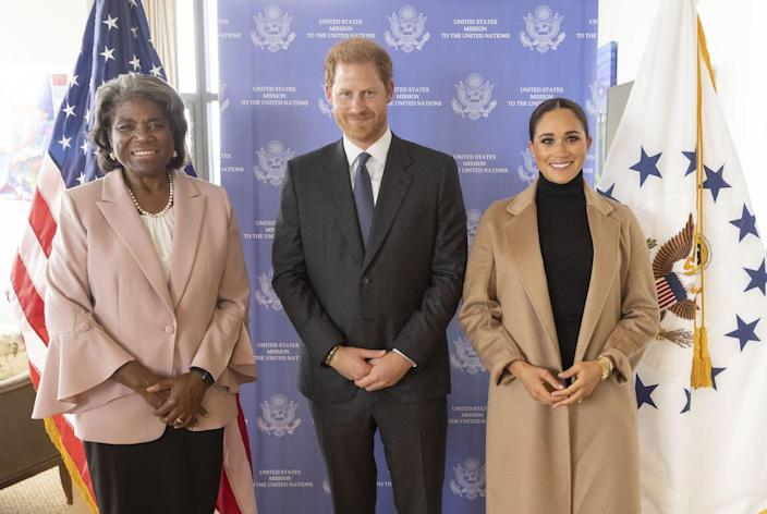 <p>Later, Harry and Meghan met with UN Ambassador Linda Thomas-Greenfield to discuss issues related to coronavirus, racial justice, and mental health.</p>