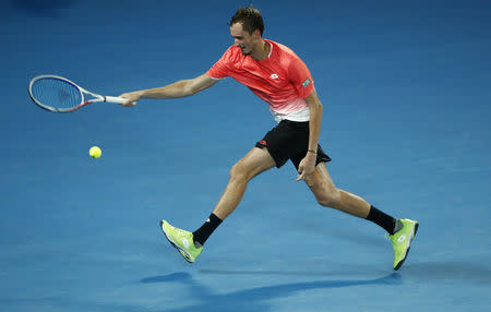 Tennis - Australian Open - Fourth Round - Melbourne Park, Melbourne, Australia, January 21, 2019. Russia's Daniil Medvedev in action during the match against Serbia's Novak Djokovic. REUTERS/Edgar Su