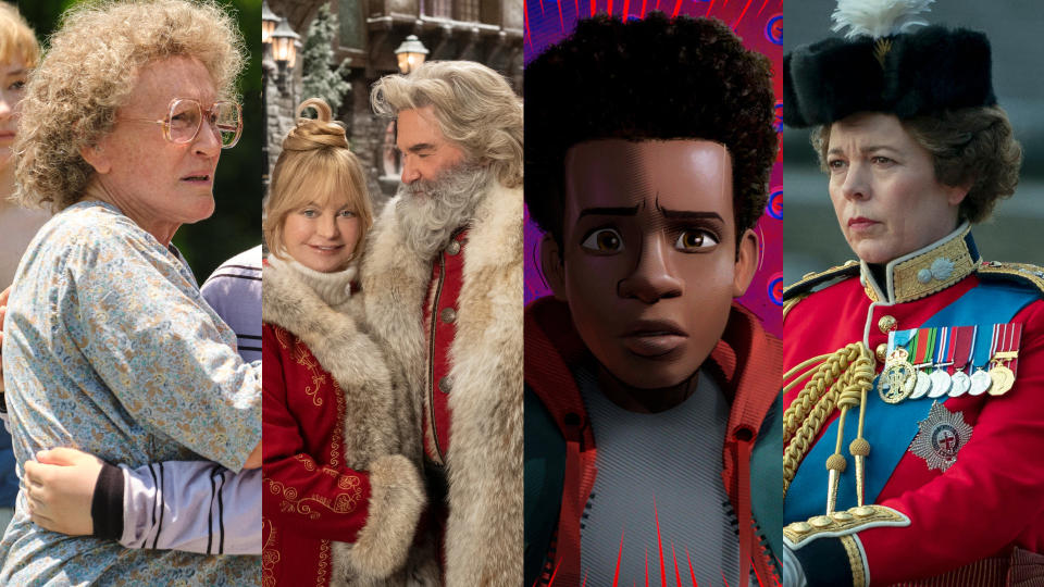 'Hillbilly Elegy', 'The Christmas Chronicles 2', 'Spider-Man: Into the Spider-Verse' and 'The Crown' S4. (Credit: Lacey Terrell/Joe Lederer/fotojo/Sony/Des Willie/Netflix)