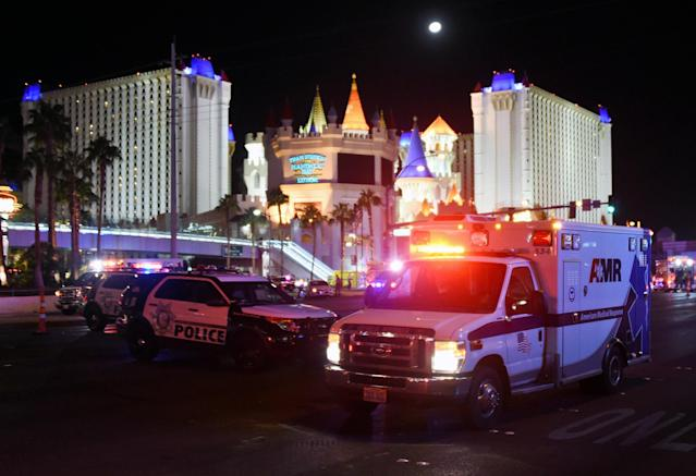 <p>An ambulance leaves the intersection of Las Vegas Boulevard and Tropicana Ave. after a mass shooting at a country music festival nearby on Oct. 2, 2017 in Las Vegas, Nevada. (Photo: David Becker/Getty Images) </p>