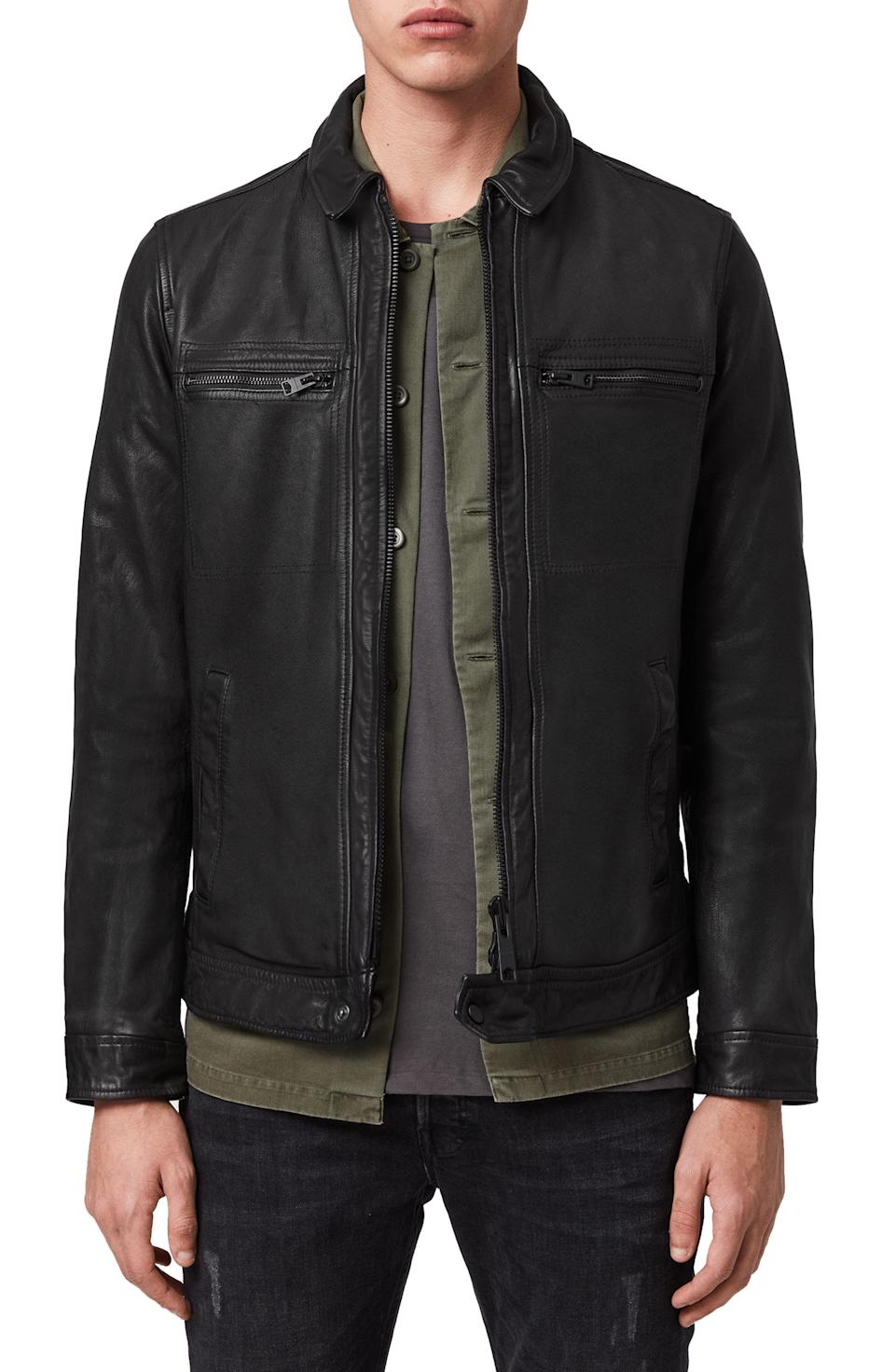 """<p><strong>ALLSAINTS</strong></p><p>nordstrom.com</p><p><a href=""""https://go.redirectingat.com?id=74968X1596630&url=https%3A%2F%2Fshop.nordstrom.com%2Fs%2Fallsaints-lark-leather-jacket%2F5214413&sref=https%3A%2F%2Fwww.esquire.com%2Fstyle%2Fmens-fashion%2Fg37002225%2Fnordstrom-anniversary-sale-mens-fashion-deals-2021%2F"""" rel=""""nofollow noopener"""" target=""""_blank"""" data-ylk=""""slk:Shop Now"""" class=""""link rapid-noclick-resp"""">Shop Now</a></p><p><strong>Sale: </strong><strong>$299.90</strong></p><p><strong>After Sale: $529.00</strong></p><p>Fall is near, and you need a leather jacket. So, get this mighty fine one while the getting is good. </p>"""