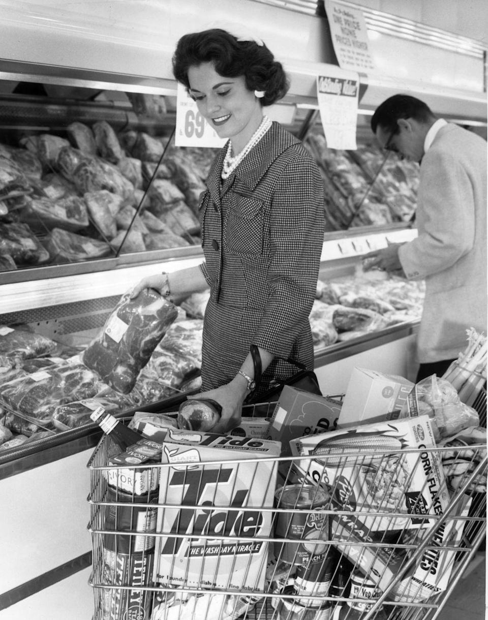 """<p>The customers of the 20th century would be horrified by what most people wear to the store today. Back then, the norm was to <a href=""""https://www.huffpost.com/entry/grandmother-vintage-fashion_n_3832270"""" data-ylk=""""slk:dress up when running errands"""" class=""""link rapid-noclick-resp"""">dress up when running errands</a> and women would wear their best dresses and accessories.</p>"""