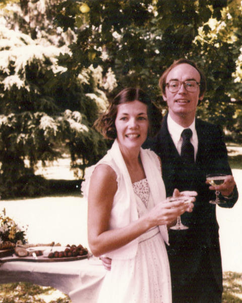 This 1980 photo provided by Sen. Elizabeth Warren's campaign shows Warren with her husband, Bruce Mann, at their wedding. (Elizabeth Warren campaign via AP)