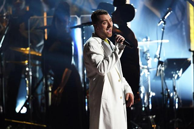 <p>Sam Smith performs onstage during the 60th Annual Grammy Awards on January 28, 2018, in New York City. (Photo: Getty Images) </p>