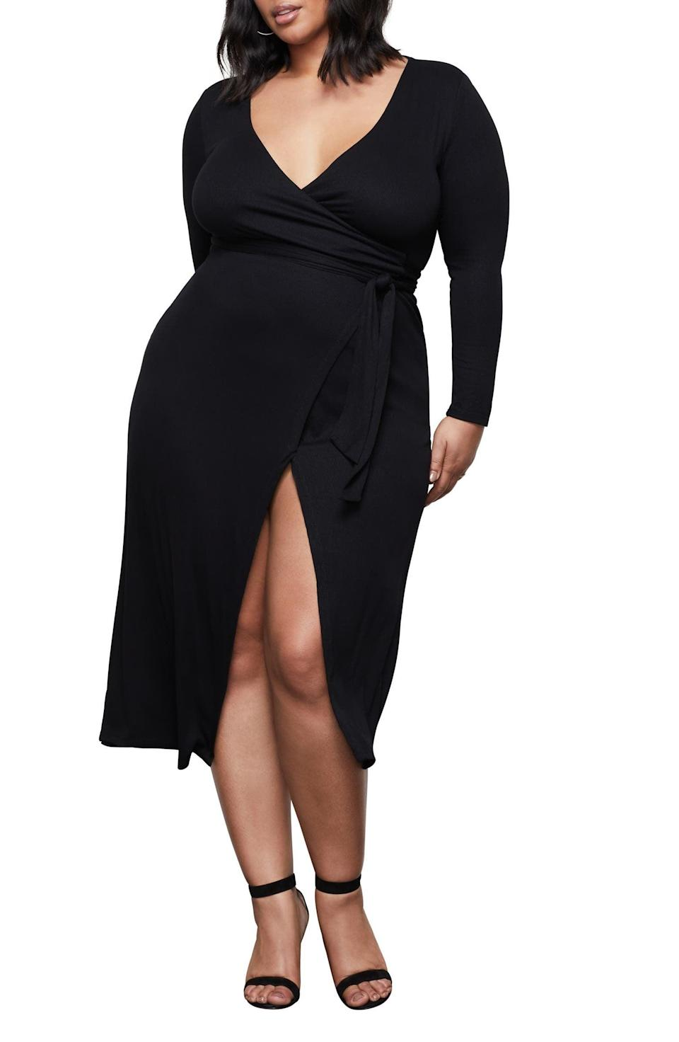 <p>You'll look and feel damn good in this sultry <span>Good American Solid Long Sleeve Wrap Midi Dress</span> ($71, originally $129).</p>