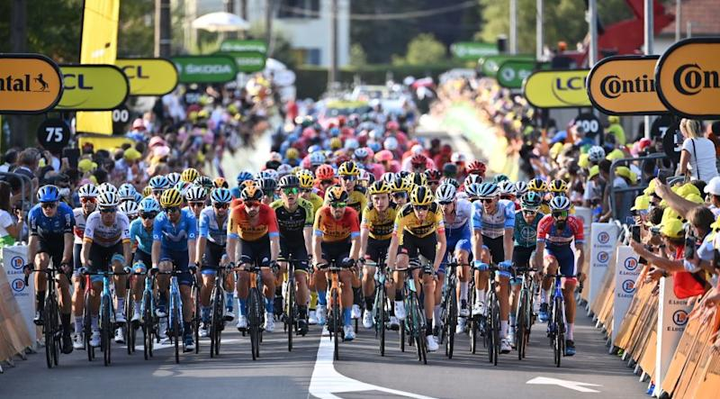 Riders in the pack cross the finish line at the end of the 19th stage of the 107th edition of the Tour de France cycling race 160 km between BourgenBresse and Champagnole on September 18 2020 Photo by Marco BERTORELLO POOL AFP Photo by MARCO BERTORELLOPOOLAFP via Getty Images