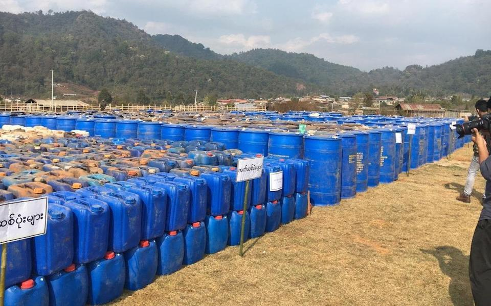 Precursor chemicals used to make illicit drugs were seized by Myanmar police - REUTERS